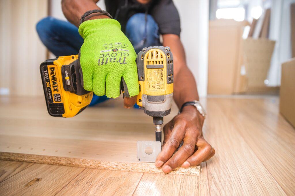 Man remodeling home
